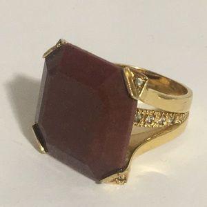 Gold Tone Brown Square w/ faux diamond ring Sz 6